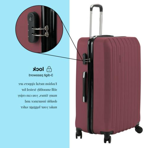 "4PCS Luggage ABS Suitcase w/ 20"" 28"""