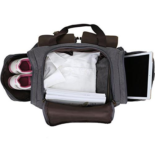 WOWBOX Duffle Bag Weekender Bag and Women Genuine Leather Travel Overnight on Bag