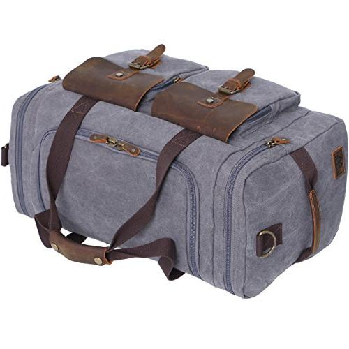 WOWBOX Bag Bag for Men and Women Leather Canvas Travel Overnight Bag with