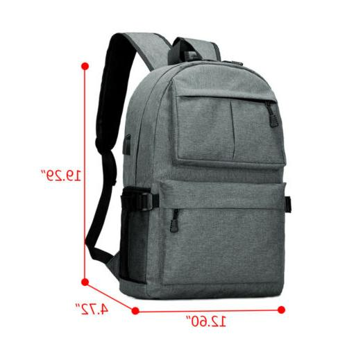 Anti-theft Mens USB Charging Backpack Laptop Travel