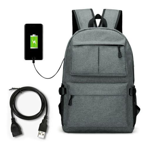 Anti-theft Mens Charging Backpack Notebook Travel School