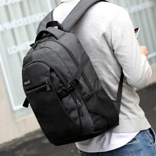 Anti-theft Mens USB Charger Backpack Notebook Travel School