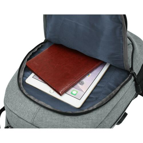 Anti-theft Mens USB with Charger Port Backpack Notebook Travel School