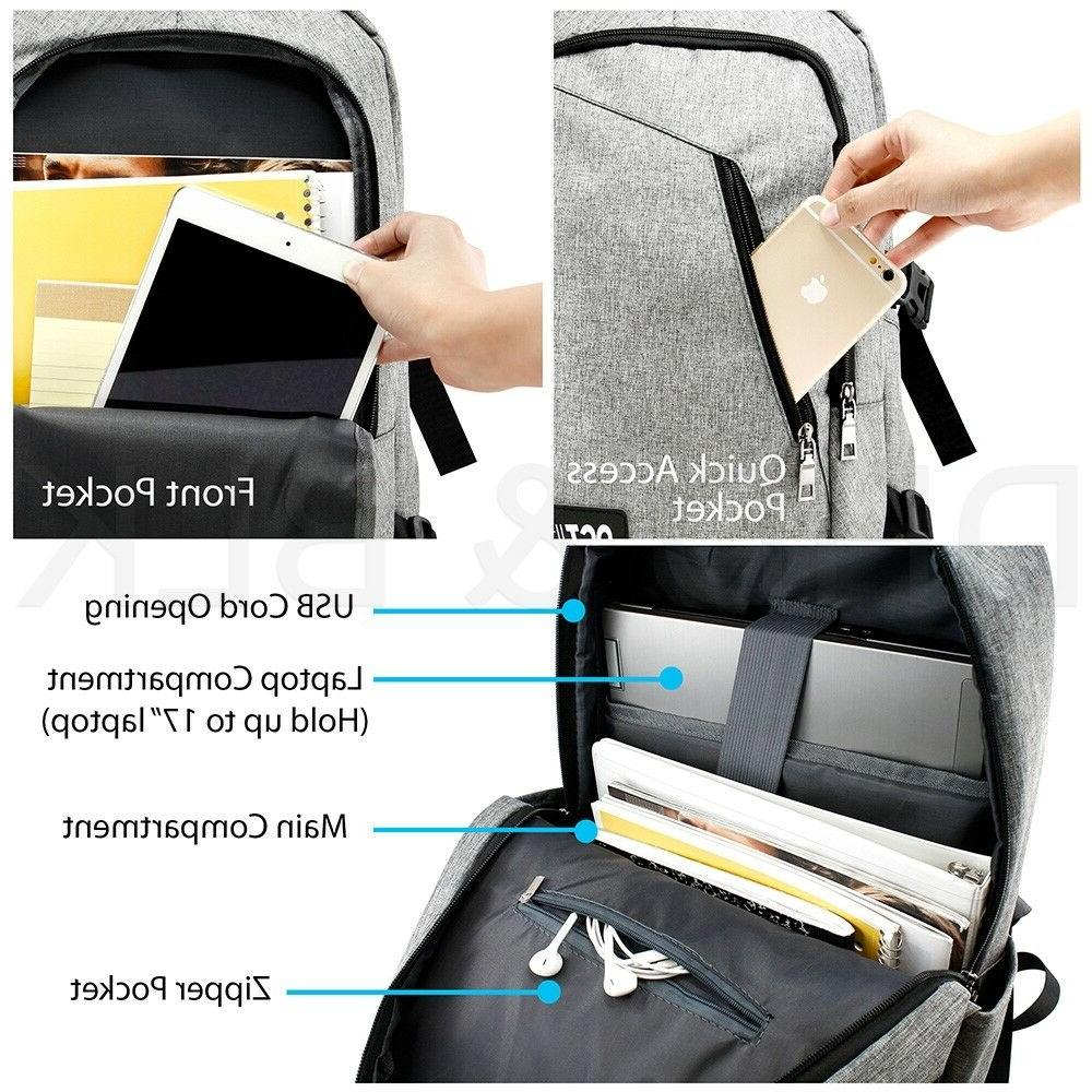 Anti-theft Mens Charging Backpack Notebook Travel Bag