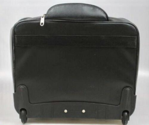 Samsonite Black Leather Bag Telescopic Pockets Zippers