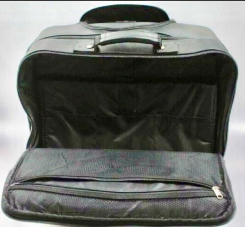 Samsonite Black Leather Boarding Bag Luggage Telescopic Pockets Zippers