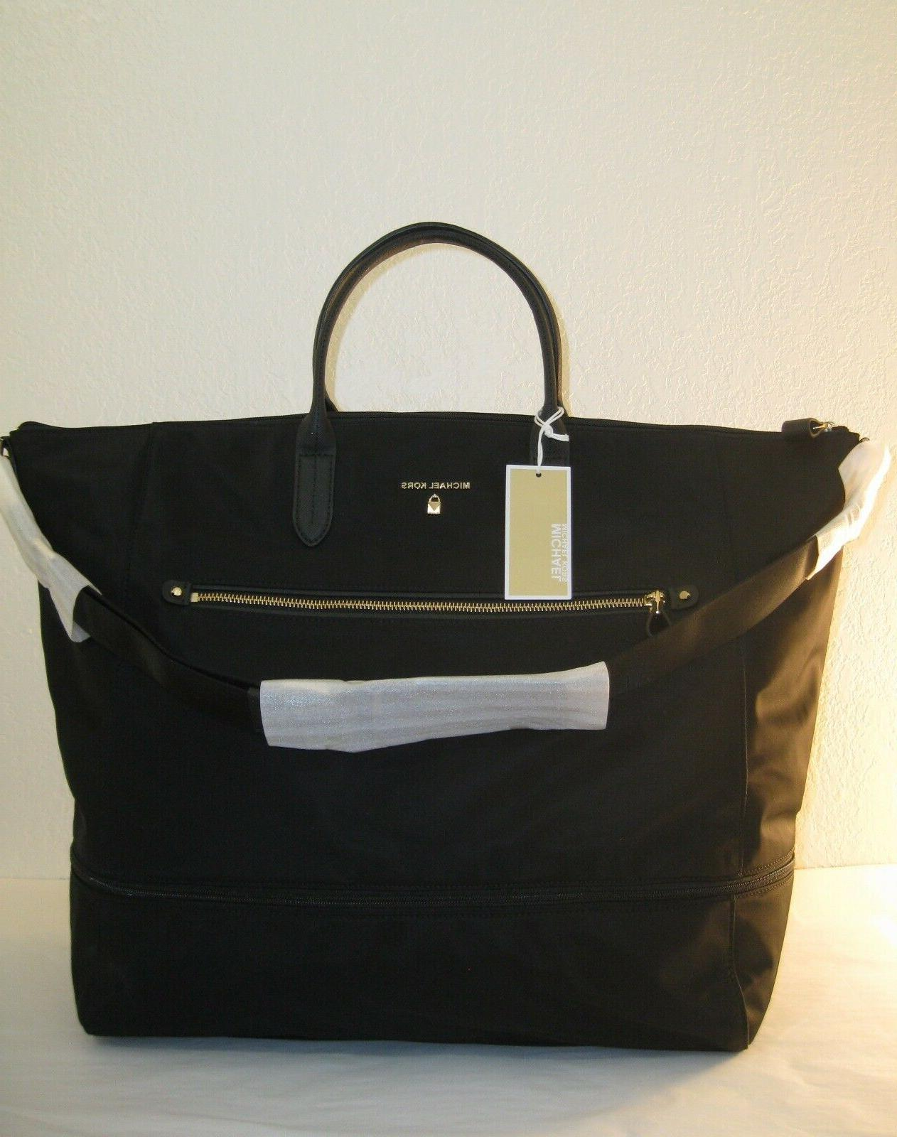 black nylon kelsey xlarge expandable travel tote