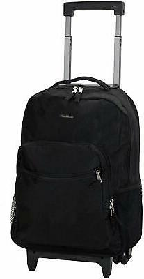 Black Rolling Backpack Rockland Luggage 17-Inch Travel Bag W