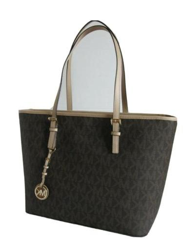 Michael Kors Brown Jet Set Top Zip Tote Purse