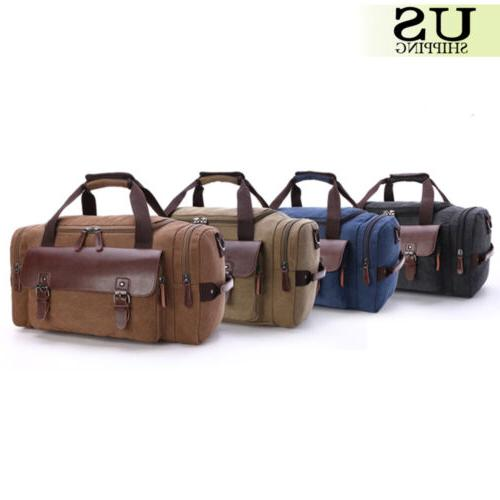 Canvas Leather Men Duffle Carry-On Shoulder Luggage