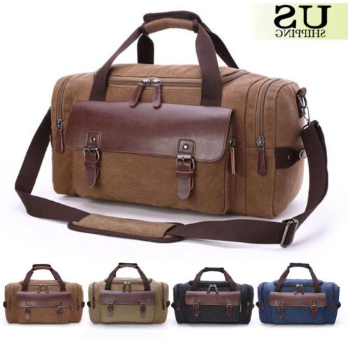 Canvas Leather Travel Bag Men Duffle Tote Bag Carry-On Shoul