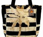 SUN N SAND CANVAS TOTE 13L x 5D x 15H BLACK GOLD PALM TREE C