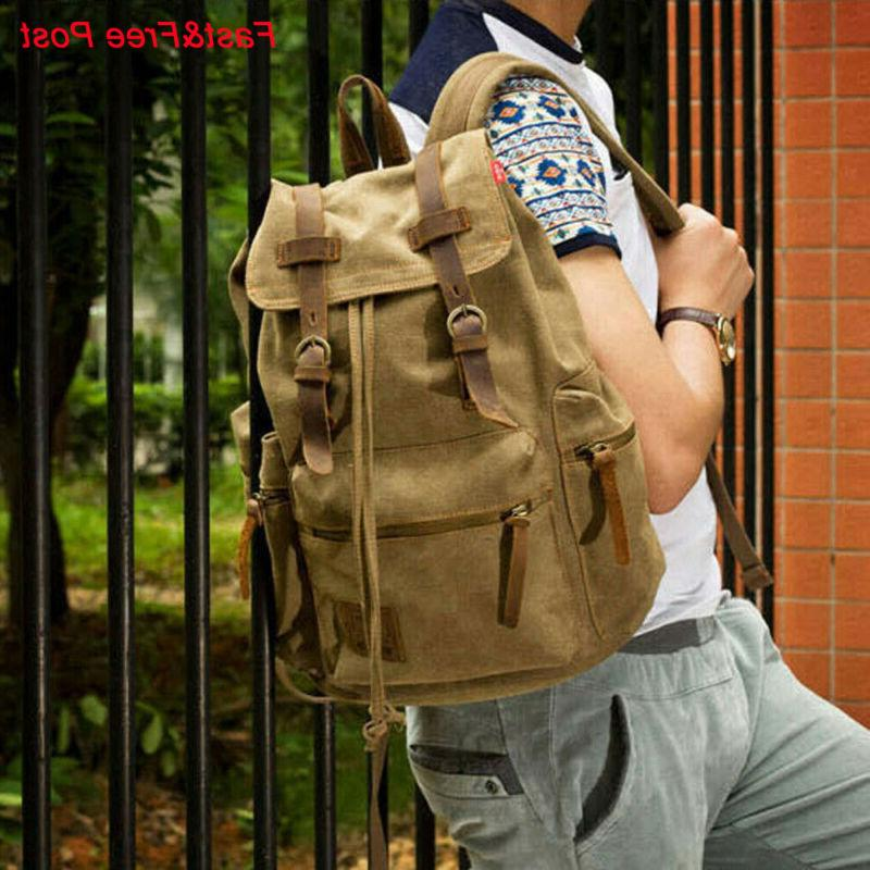 canvas travel sport rucksack camping school satchel