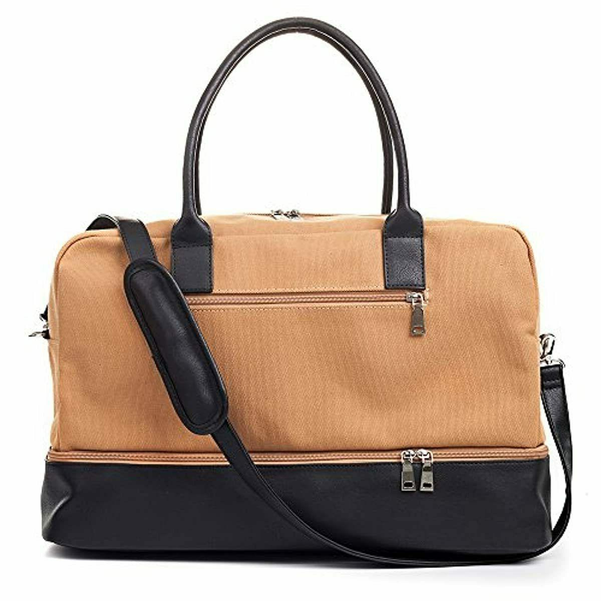 canvas weekender bag overnight travel carry on