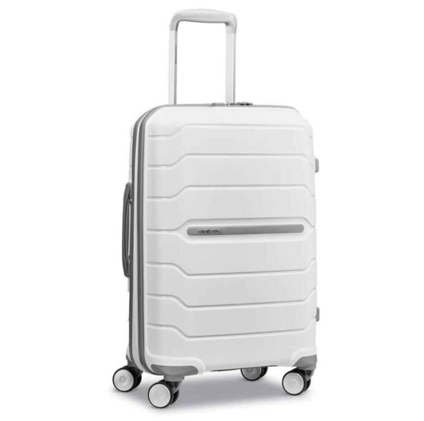 carry on luggage white travel bag hardside