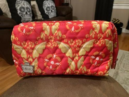 cosmetic bag floral pink travel