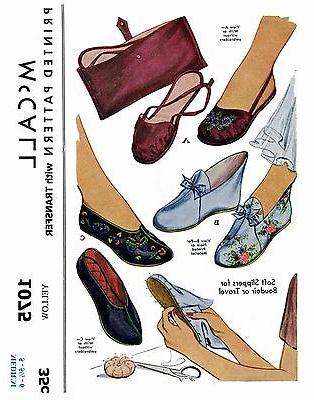 Fabric SLIPPER Shoe Sewing Pattern McCall # 1075 Vintage Tra