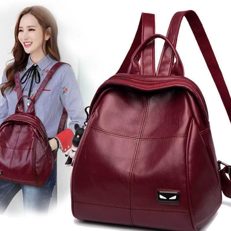 Female New Ladies Soft Leather Travel Backpack Casual Fashio
