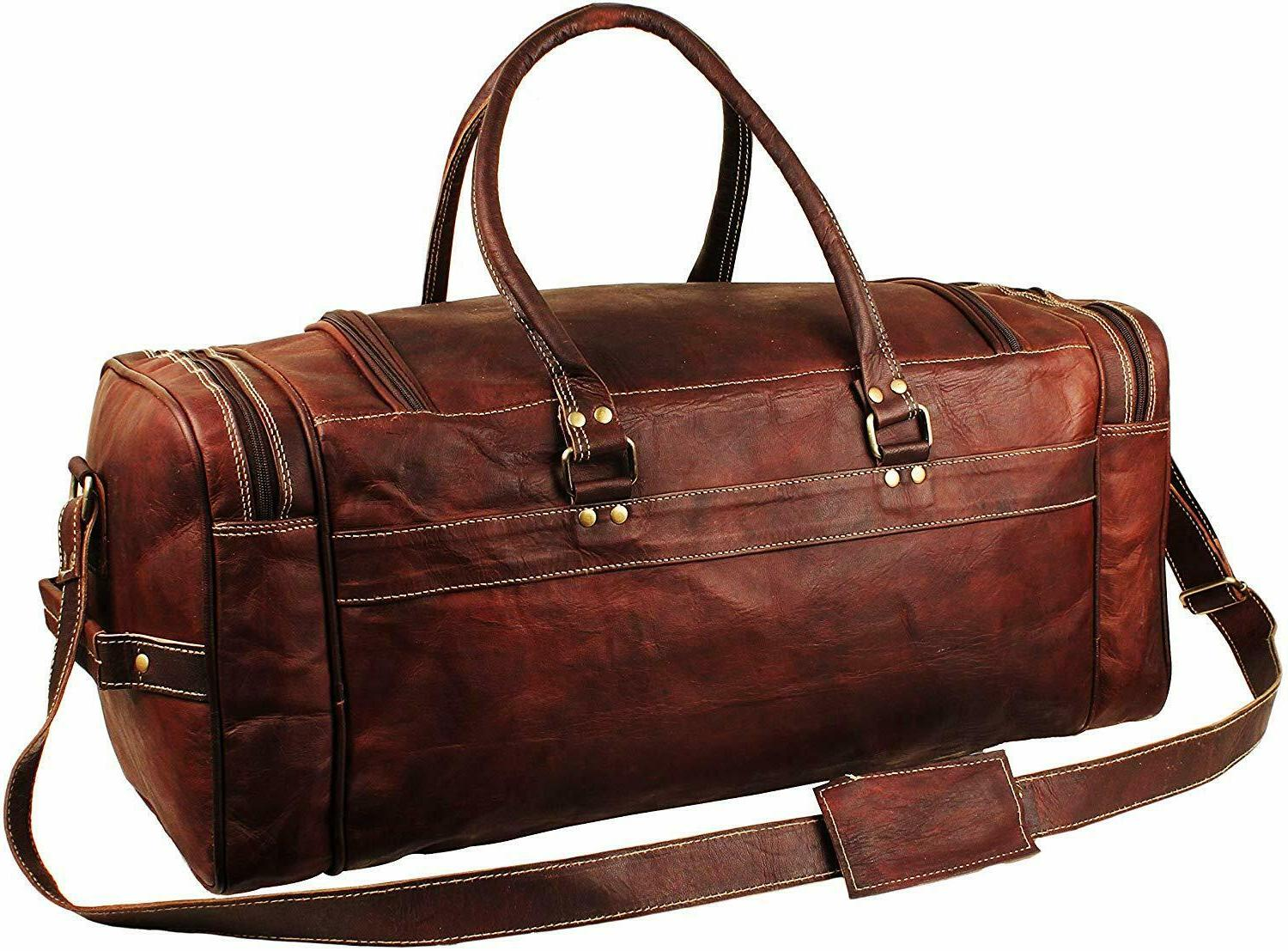 Genuine Leather Overnight Duffle Overnight Weekender Bag