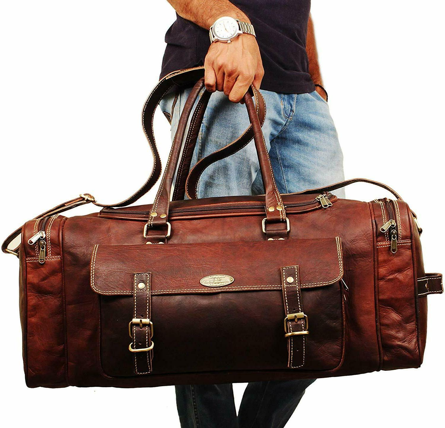 Genuine Leather Overnight Duffle Overnight Luggage Carry