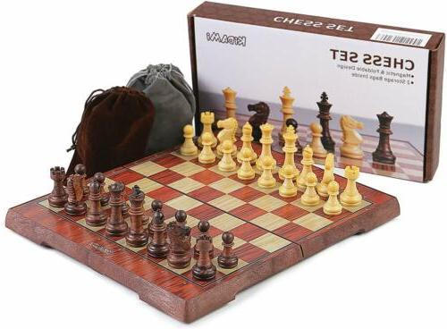hand crafted wooden magnetic chess