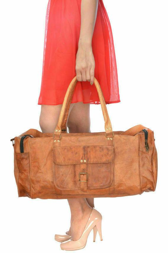 handcrafted genuine leather travel duffel handbag