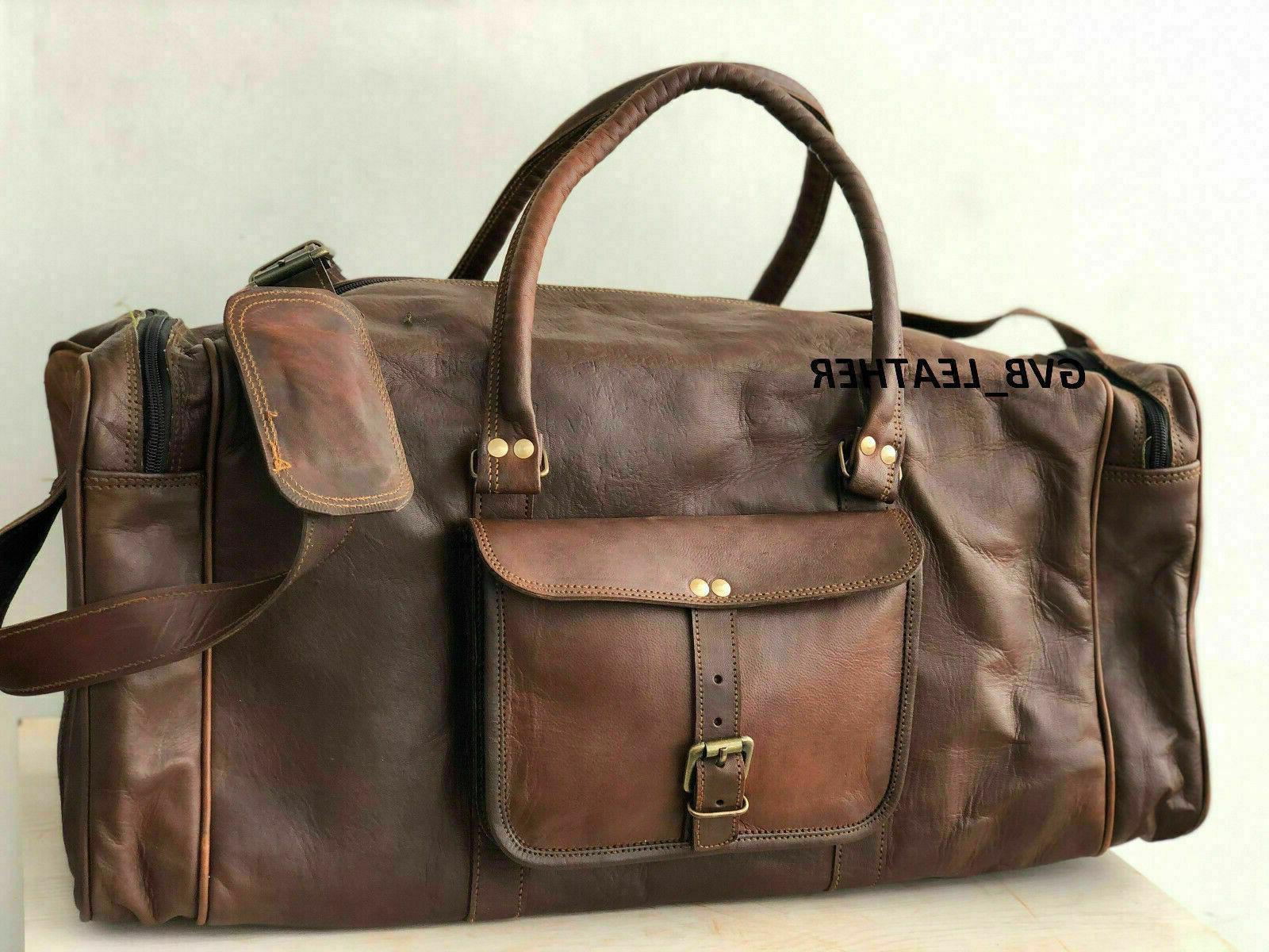 holdall weekend travel bag real leather duffle