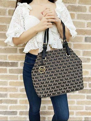 Michael Jet Set Travel Grab Bag Jacquard Handbag Tote Black