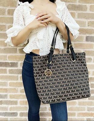 Travel Bag Jacquard Handbag Tote Beige Black