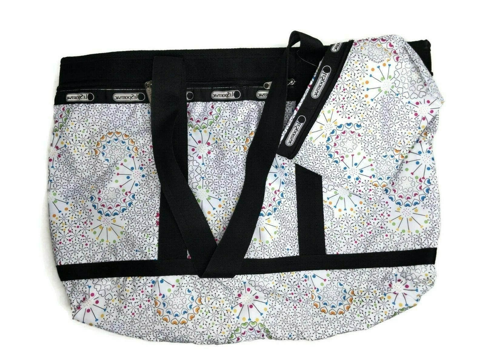 LeSportsac Large Travel Tote + Cosmetic Bag in Hythmic White