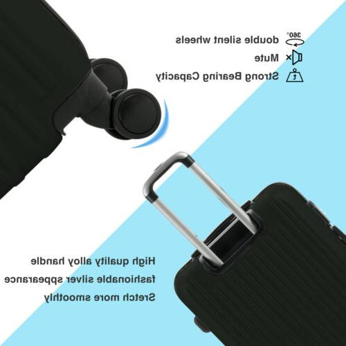 4Pcs Trolley Carry On Travel Bag Black