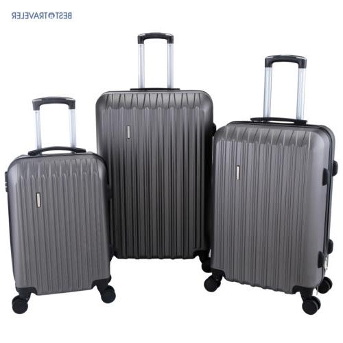 Set of 3 Luggage Set Travel Bag  with Lock ABS Trolley Spinn