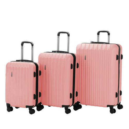 Luggage Set ABS Trolley 360° Spinner Carry Suitcase Lock