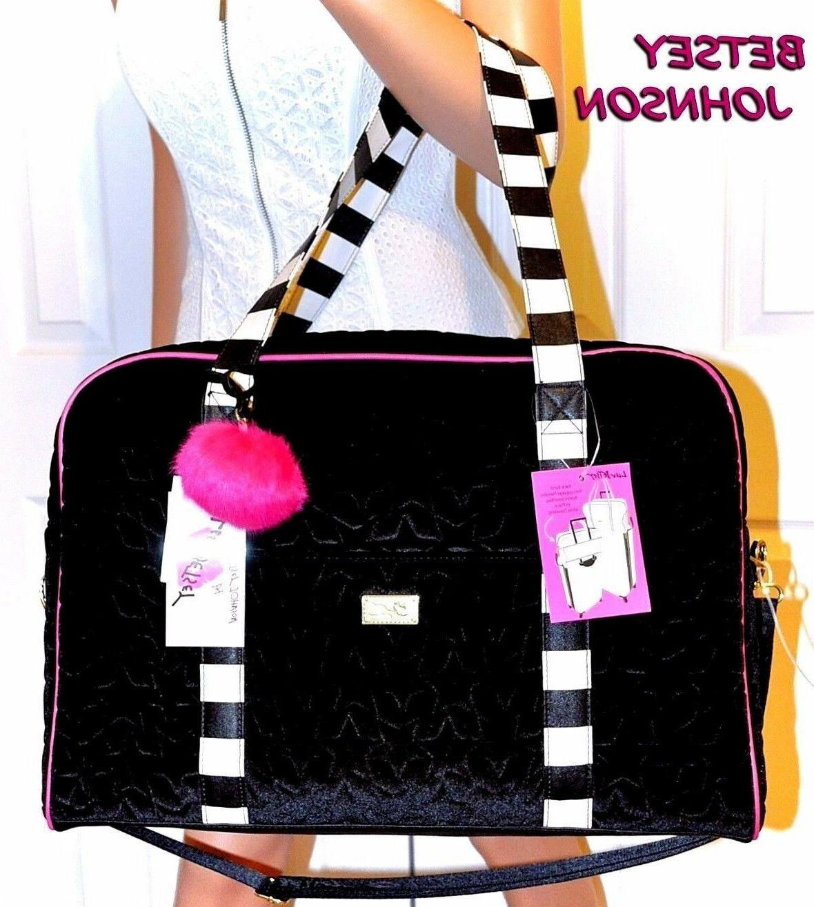 Betsey Johnson Luv Betsey Black Velvet Quilted Duffel Weeken