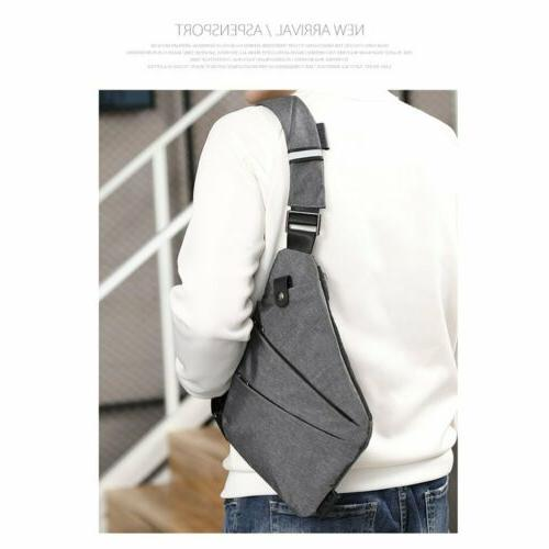 Men's Canvas Chest Pack Crossbody Anti Theft Shoulder Bag