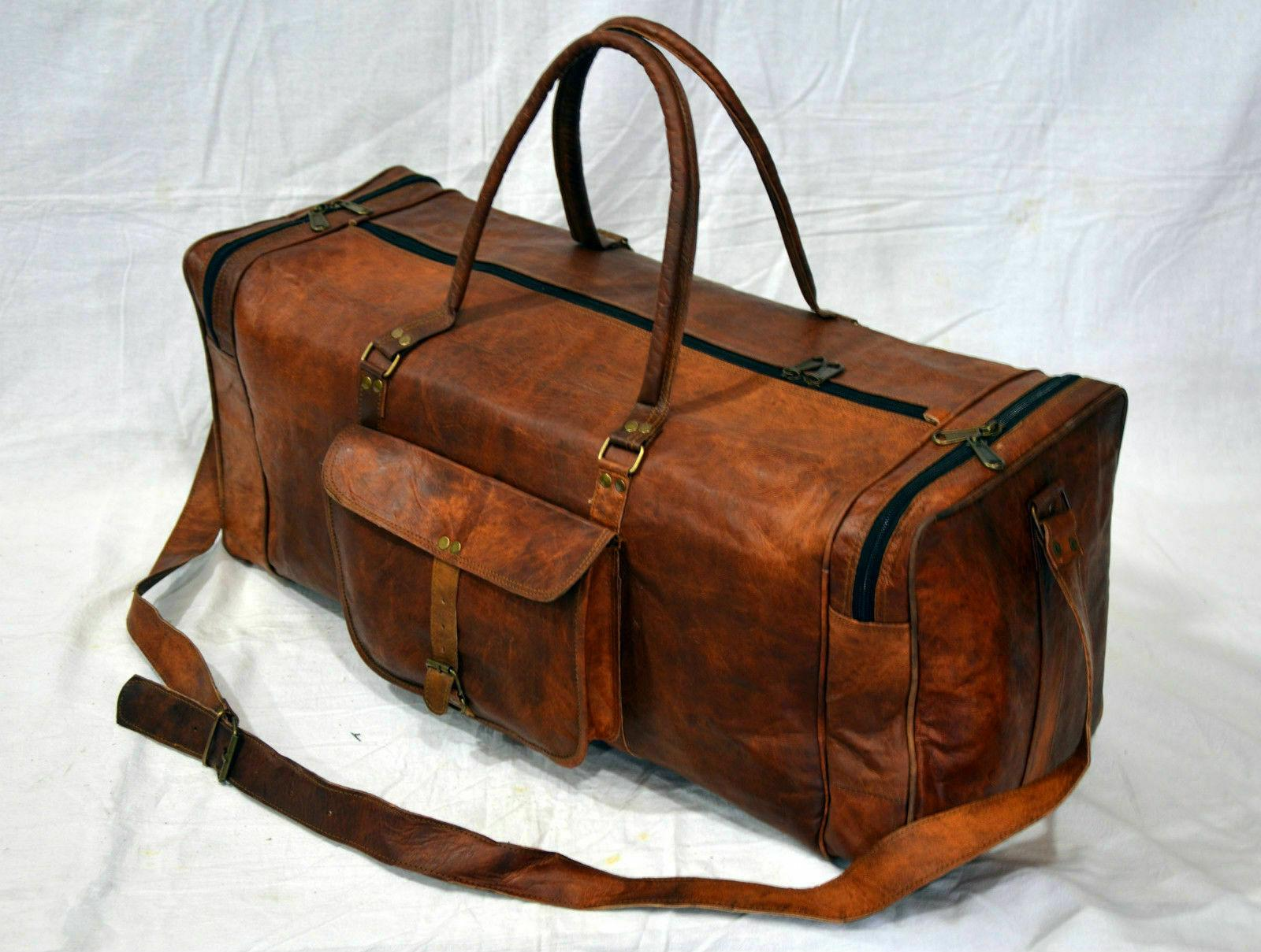 Men's Leather Travel Duffel Weekend Gym Overnight Bag
