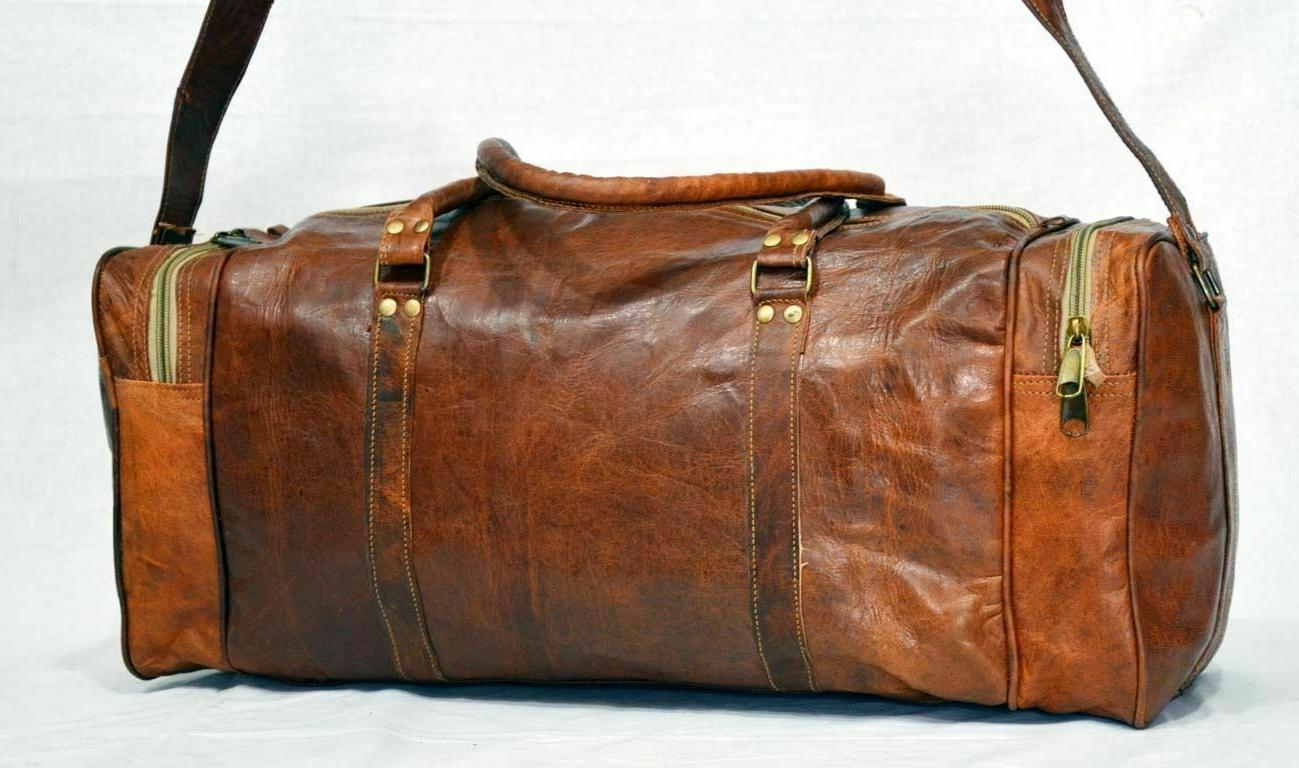 Men's Leather Travel Duffel Weekend Vacation Gym Overnight