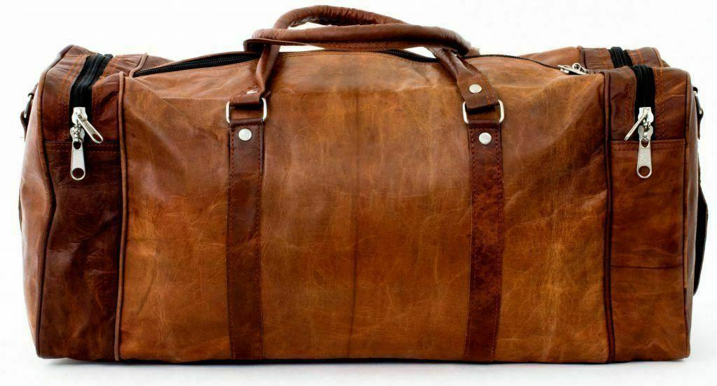 Men's Leather Travel Duffel Weekend Luggage Vacation Gym Overnight
