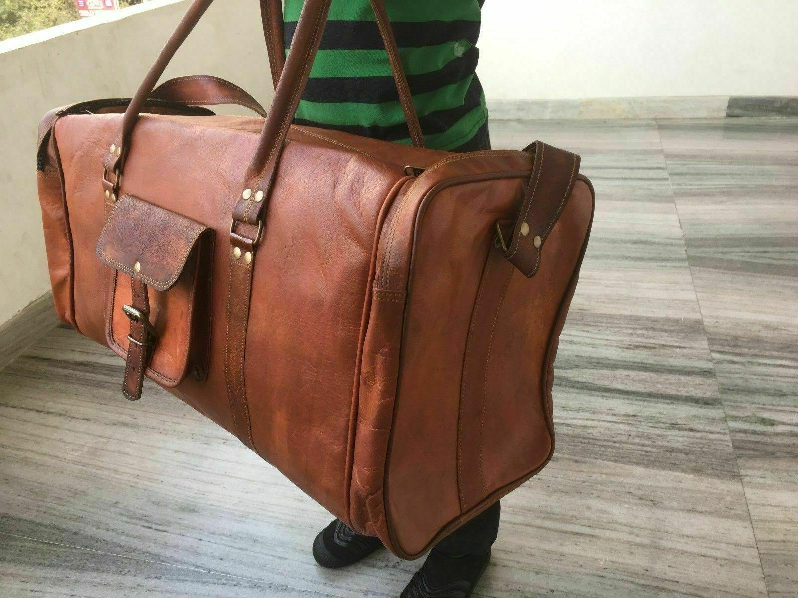 Men's Leather Duffle Gym Overnight Travel