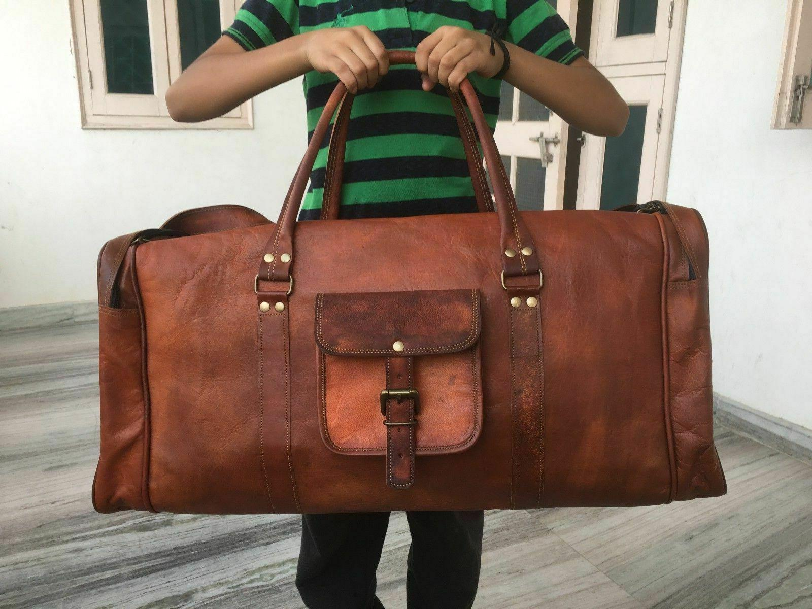 men s leather vintage duffle luggage weekend