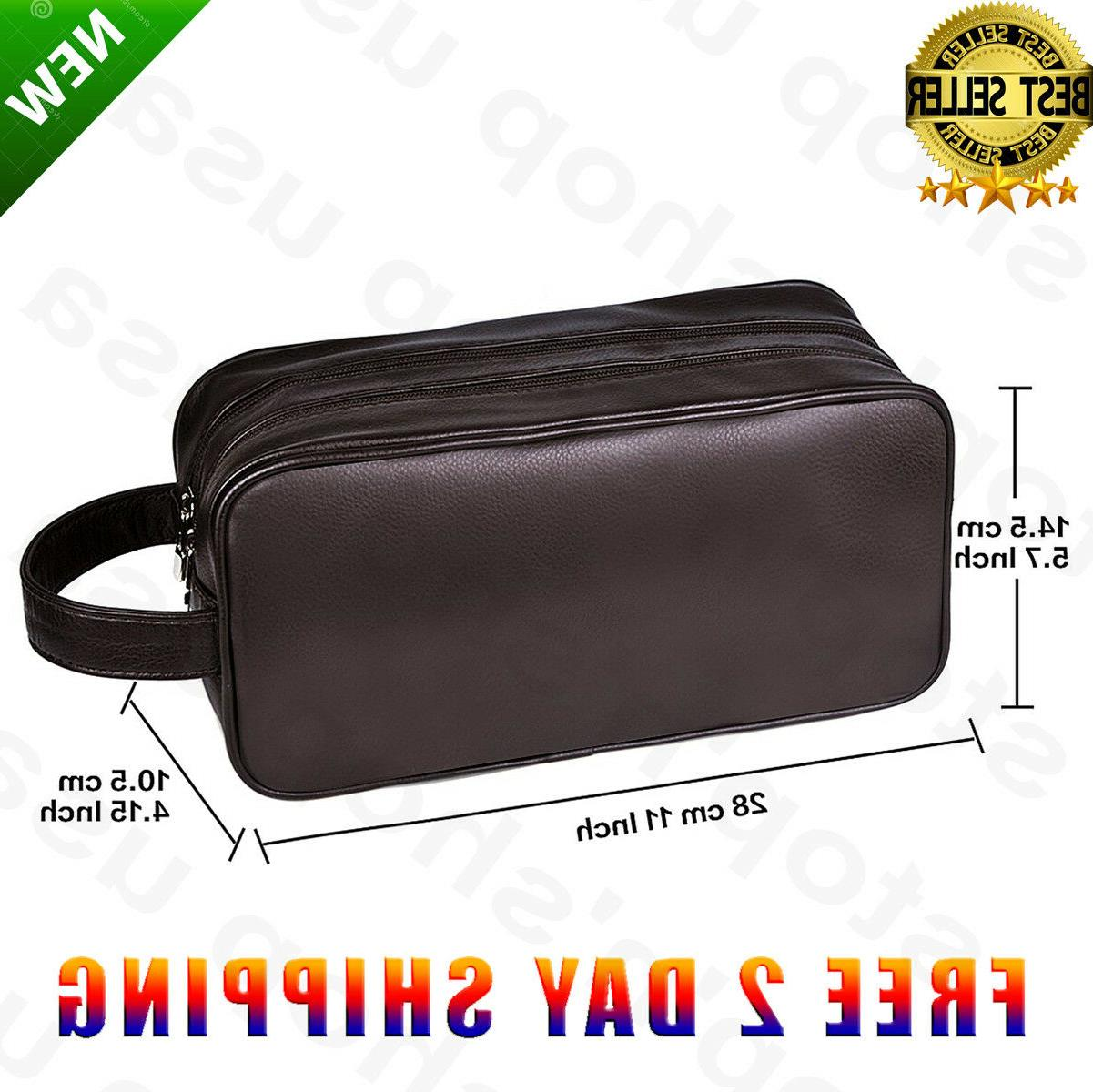 men toiletry travel bag shave kit leather
