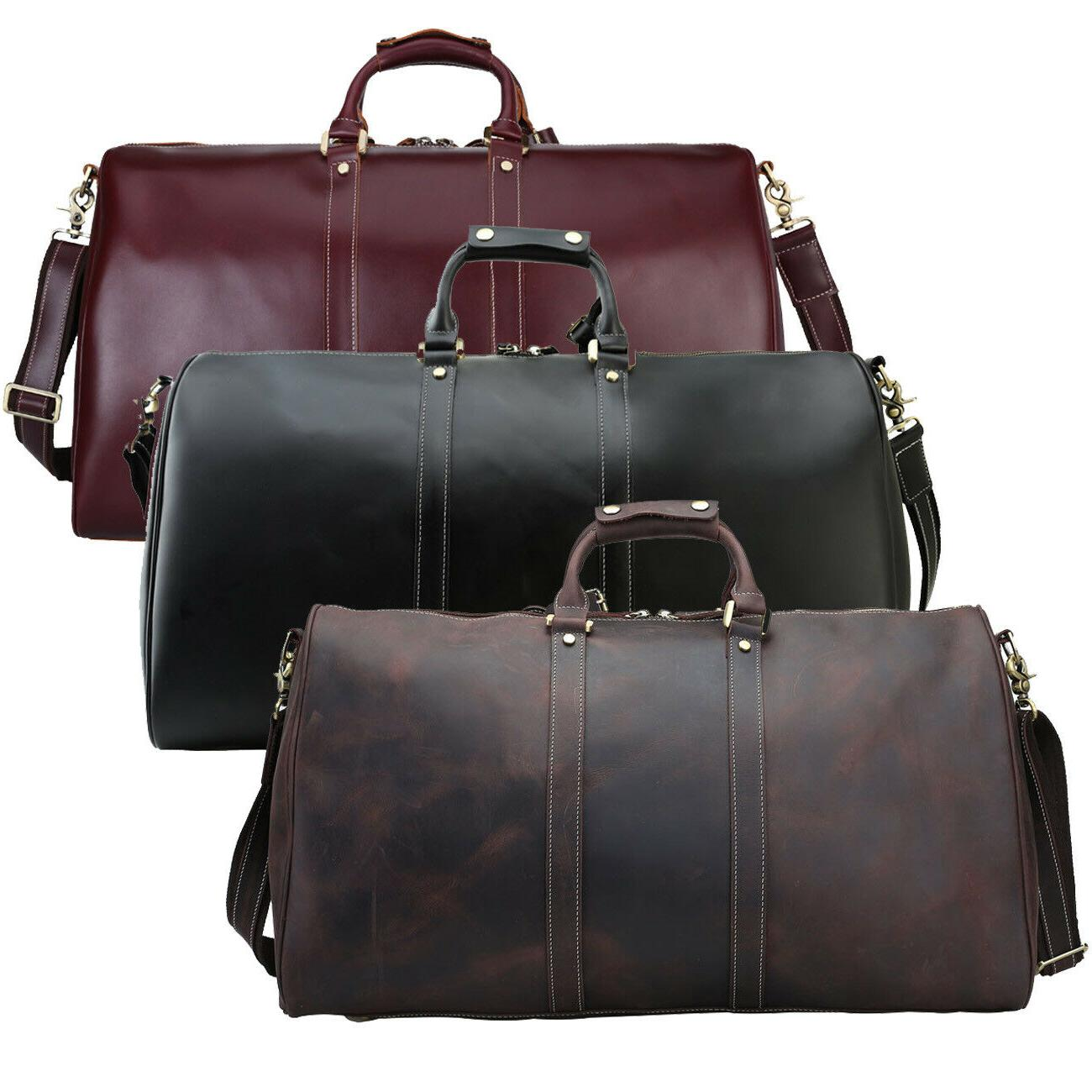 mens real leather luggage travel bag duffle