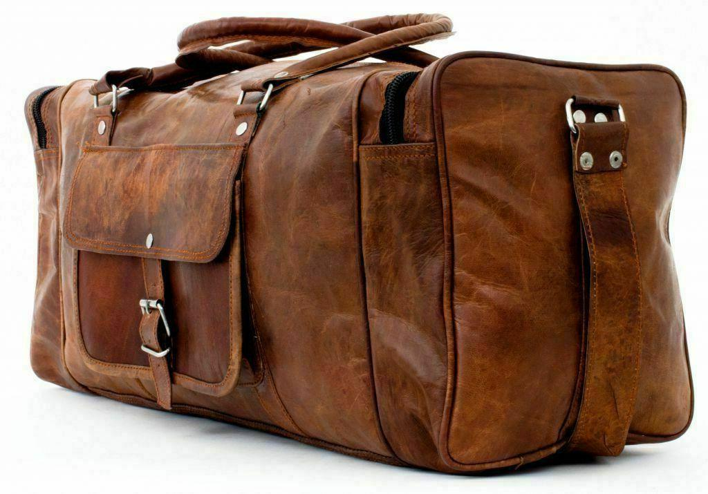 """New 30"""" Large Men's Hand-Crafted Duffel Bag Genuine Brown Le"""