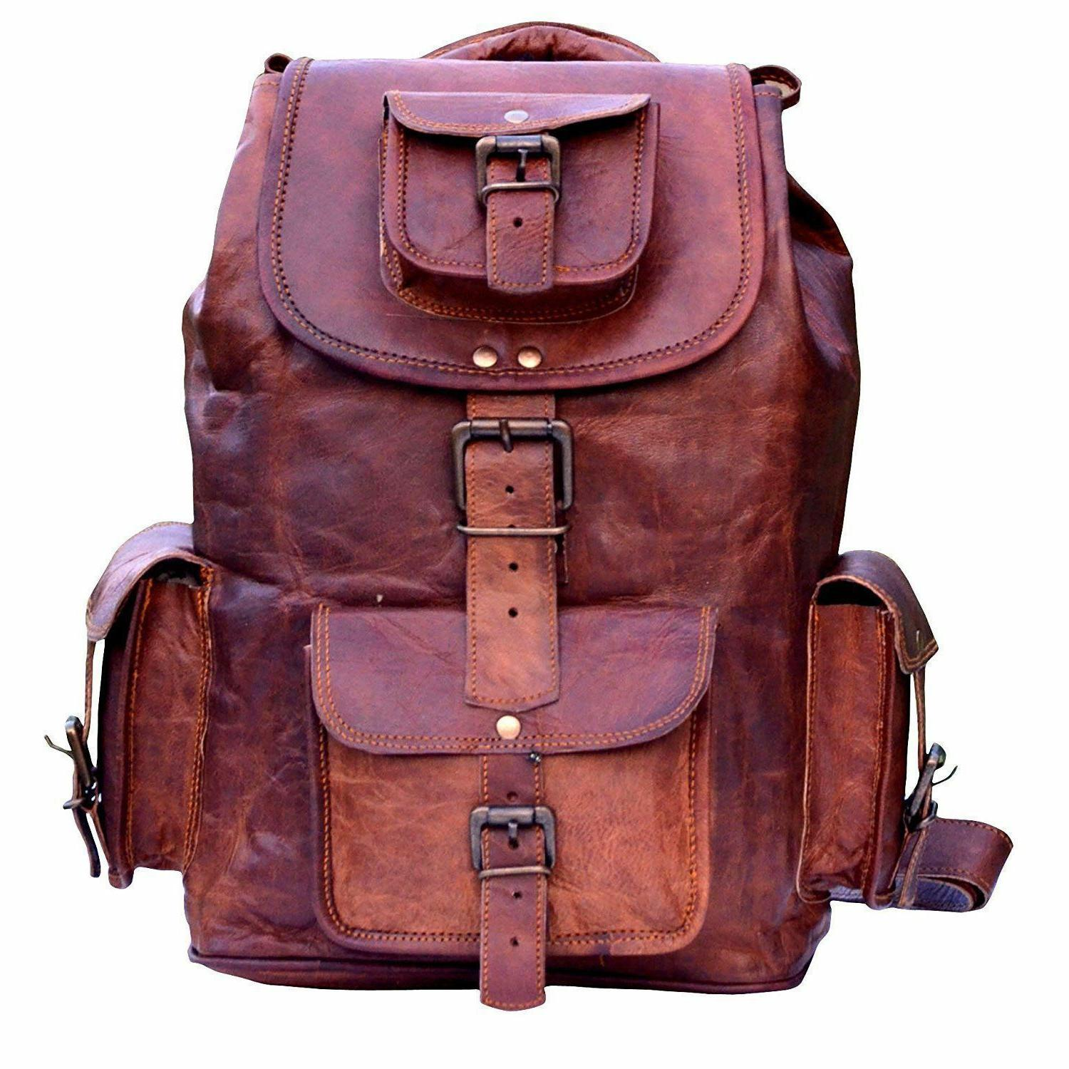 new large genuine leather back pack rucksack