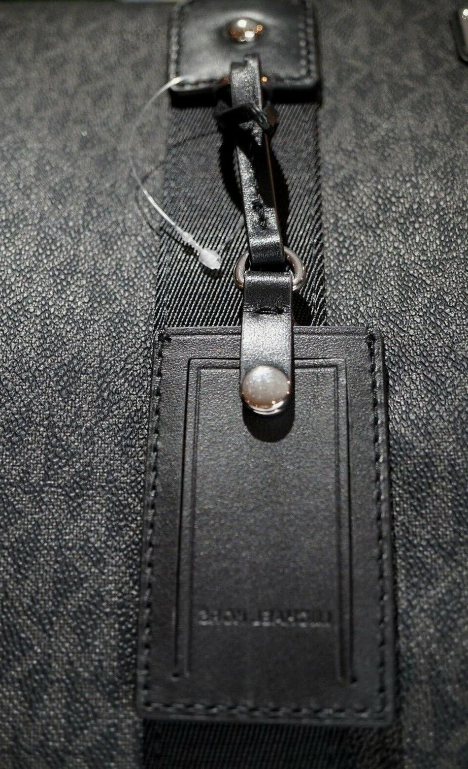 NWT MICHAEL Signature Duffel Bag In BLACK CANVAS/Leather $598