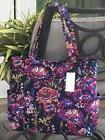 VERA BRADLEY PLEATED TOTE TRAVEL BAG PURSE in MIDNIGHT WILDF