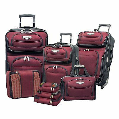 Travel Bag 8pc Deluxe Packing Luggage Set Red Carry On Soft