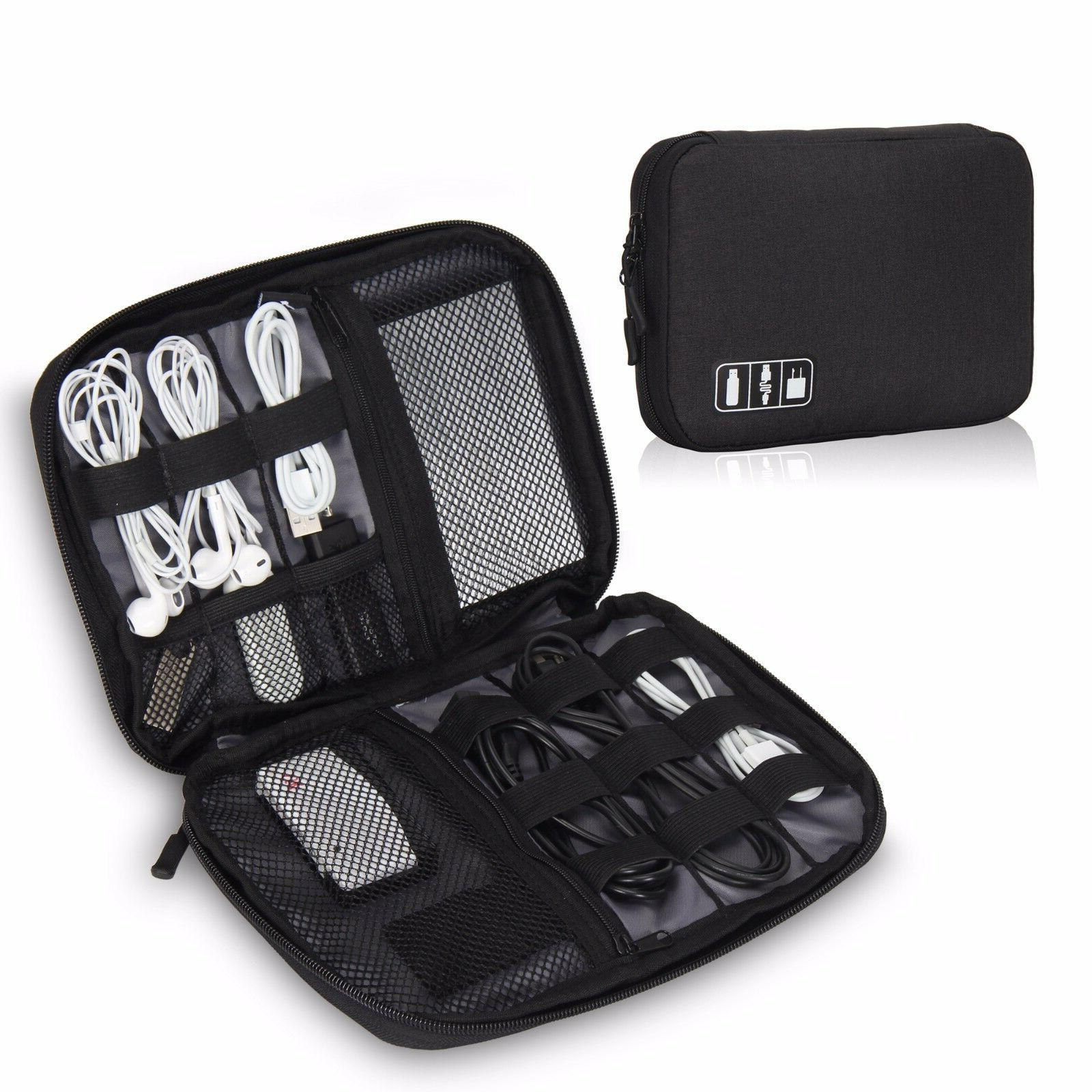 Travel Cable Cord Organizer Electronics Accessories Bag USB