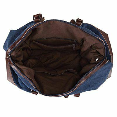 Ulgoo Travel Bag Canvas Bag PU Weekend Bag Overnight Blue