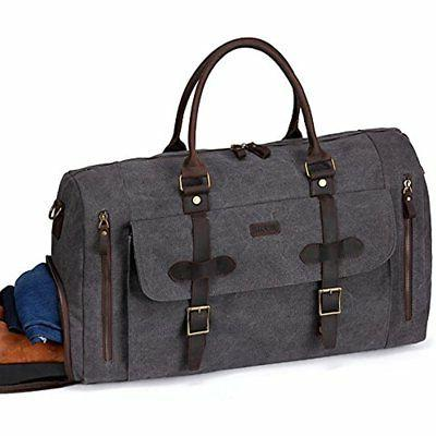 Travel Duffels Large Bag,Vaschy Leather Canvas Duffle Tote W